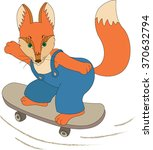 a little fox riding on a... | Shutterstock .eps vector #370632794