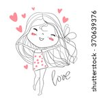 beautiful girl with a heart. | Shutterstock .eps vector #370639376