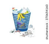 full trash can isolated. vector ... | Shutterstock .eps vector #370654160