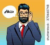 businessman hipster beard and... | Shutterstock .eps vector #370660748