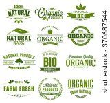 Natural, Organic, Bio, Farm Fresh Design Collection - A set of twelve green colored vintage style Designs on light background | Shutterstock vector #370687544