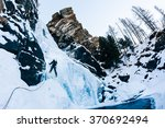 Ice Climbing  Male Climber On ...