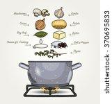 mushroom soup ingredients | Shutterstock .eps vector #370695833