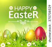 happy easter card with eggs ... | Shutterstock .eps vector #370708529