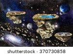 islands in universe space on... | Shutterstock . vector #370730858