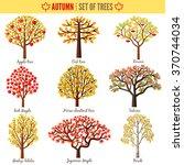 Set Of Autumn Trees On White...
