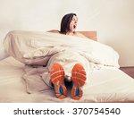 wake up yawning girl in run... | Shutterstock . vector #370754540