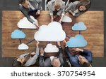 business people joining cloud... | Shutterstock . vector #370754954