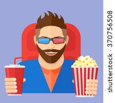 smiling young man with popcorn... | Shutterstock .eps vector #370756508