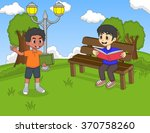 children reading a book in the... | Shutterstock .eps vector #370758260