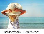 Happy Little Girl On Beach...