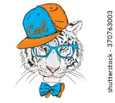 vector tiger wearing glasses... | Shutterstock .eps vector #370763003