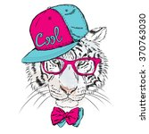 vector tiger wearing glasses... | Shutterstock .eps vector #370763030