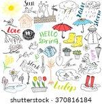 spring season set doodles... | Shutterstock .eps vector #370816184