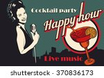 vintage poster with woman...   Shutterstock .eps vector #370836173