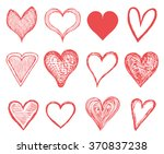 icons of red hearts. symbols of ... | Shutterstock .eps vector #370837238