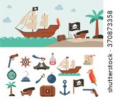 pirate icons flat set with... | Shutterstock .eps vector #370873358