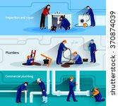 plumber horizontal banner set... | Shutterstock .eps vector #370874039