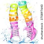 teenager girl in sneakers.... | Shutterstock . vector #370897640