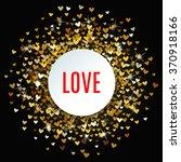 romantic golden heart frame on... | Shutterstock .eps vector #370918166