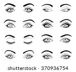 set of female eyes and brows... | Shutterstock .eps vector #370936754
