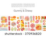 various jelly candies on white... | Shutterstock . vector #370936820