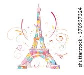 romantic background with eiffel ... | Shutterstock .eps vector #370937324