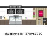 flat design coffee shop interior | Shutterstock .eps vector #370963730