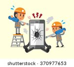 cartoon technicians repairing... | Shutterstock .eps vector #370977653