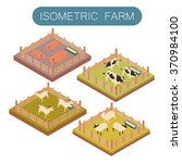 isometric farm animals set   Shutterstock .eps vector #370984100