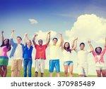 group friends celebration... | Shutterstock . vector #370985489