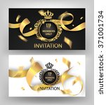 invitation vip cards with gold... | Shutterstock .eps vector #371001734