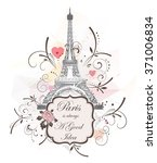 romantic background with eiffel ... | Shutterstock .eps vector #371006834