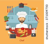 chef with cooking appliances ... | Shutterstock .eps vector #371009750