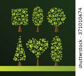 set of trees of various shapes. ...   Shutterstock .eps vector #371010674