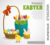 Easter Card With Eggs Basket...