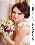 portrait of a happy bride ... | Shutterstock . vector #371035880