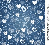 Denim Background With Hearts...