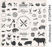 set of black restaurant badges... | Shutterstock .eps vector #371047844