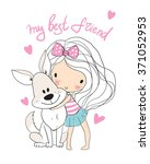 cute girl with dog  | Shutterstock .eps vector #371052953