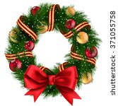 christmas wreath with ribbons ... | Shutterstock . vector #371055758