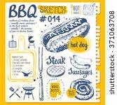 food sketchbook with bbq. ... | Shutterstock .eps vector #371063708