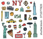 New York Doodle Line Set. Hand...