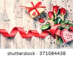 bouquet of red roses with... | Shutterstock . vector #371084438