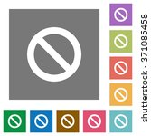 blocked flat icon set on color...