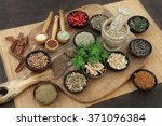 herb and spice health food... | Shutterstock . vector #371096384