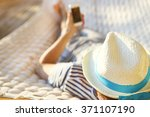 lazy time. man in hat in a... | Shutterstock . vector #371107190