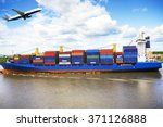 container ship and cargo... | Shutterstock . vector #371126888