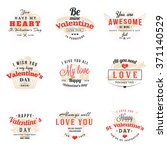 set of happy valentines day... | Shutterstock .eps vector #371140529