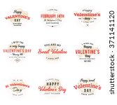 set of happy valentines day... | Shutterstock .eps vector #371141120